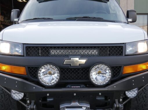 Front Of Chevy Express Van showing stealth series LED Bar brackets for behind grill